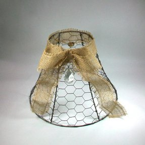 Burlap lamp shades foter vintage chicken wire lamp shade with greentooth Image collections