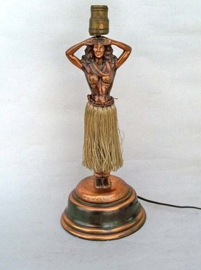 Vintage hula girl lamp foter 1940s dodge company hawaiian hula girl table lamp mozeypictures Images