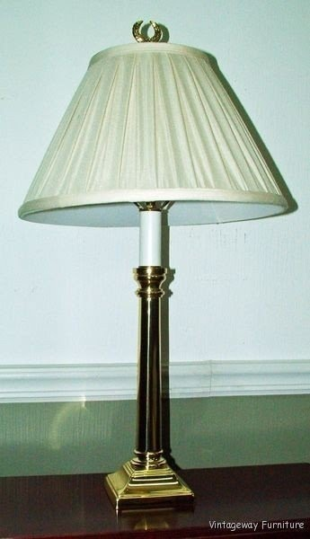 6241 Signed Baldwin Brass 28 H Table Lamp With Shade Beautiful Condition