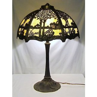 54a85558419a Antique miller art nouveau slag glass lamp