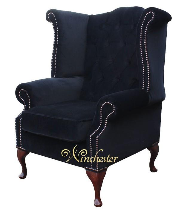 Chesterfield Queen Anne Fireside High Back Wing Chair Black Velvet
