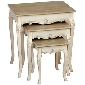 French country cream wood nest of three tables 9463 p