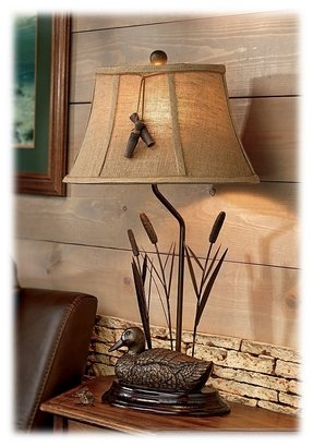 Mallard duck cattails table lamp duck call accent rustic cabin