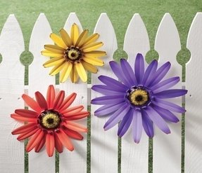Outdoor metal coneflower wall plaques set of 3 flowers yard