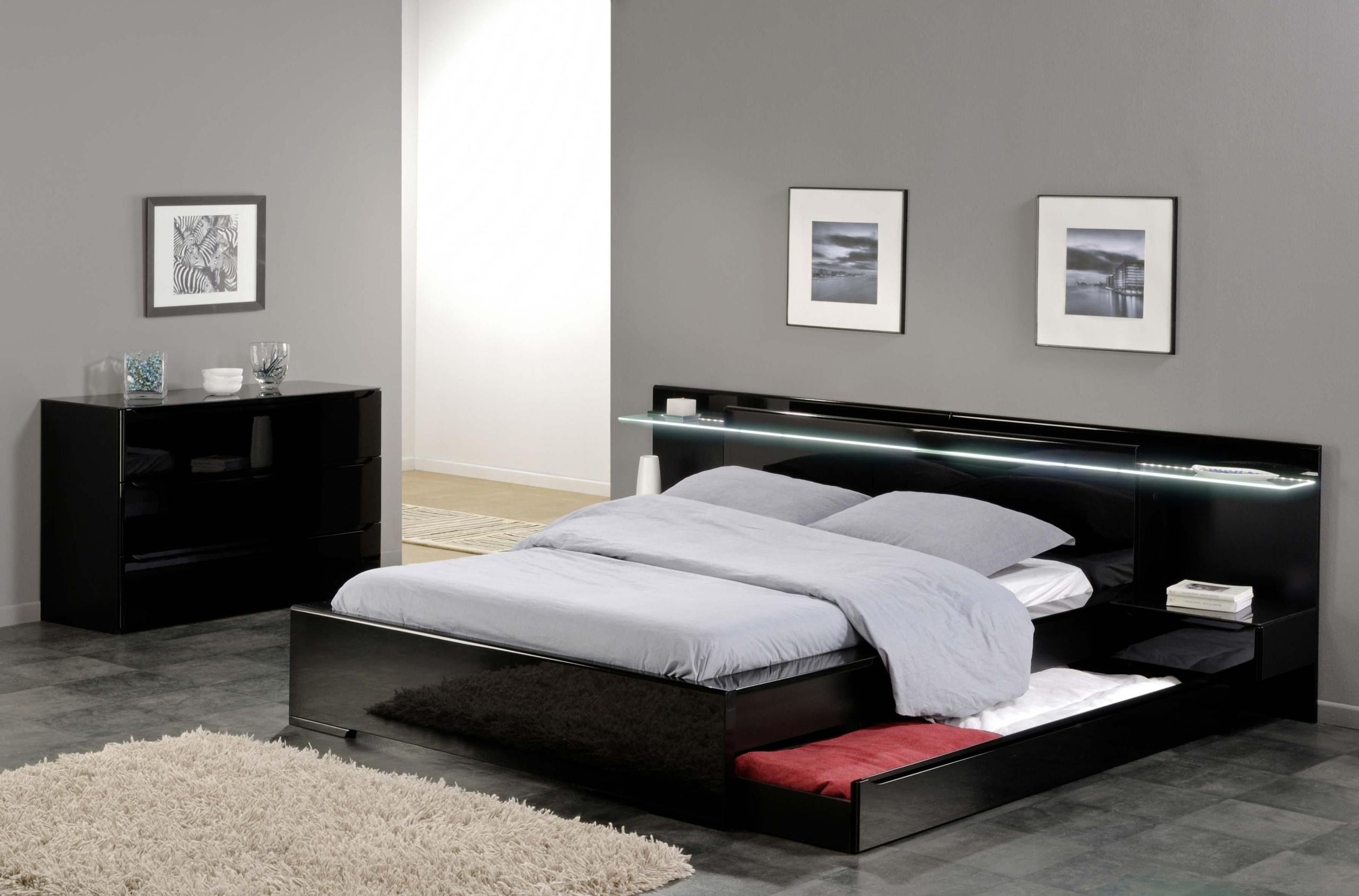 Charmant Savoy Black Gloss Headboard Light Storage Bed