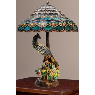 Tiffany style peacocks hallow double lit stained glass table lamp