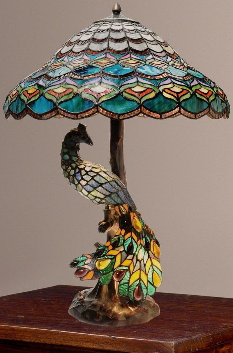 Delicieux Tiffany Style Peacocks Hallow Double Lit Stained Glass Table Lamp
