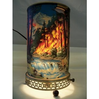 Vintage 1955 econolite mothion lamp forest fire scene