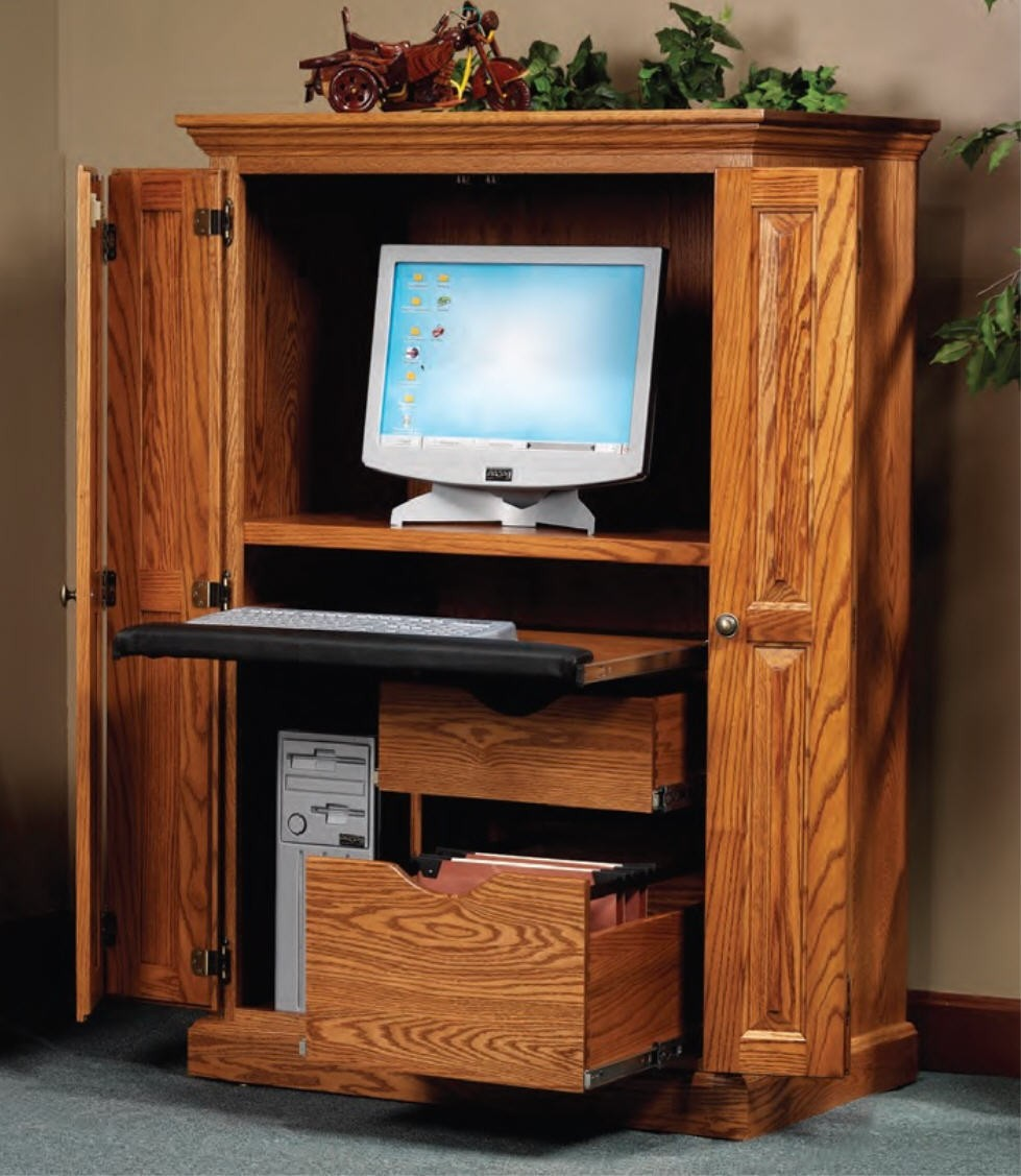 Beau Computer Armoire With Pocket Doors 4