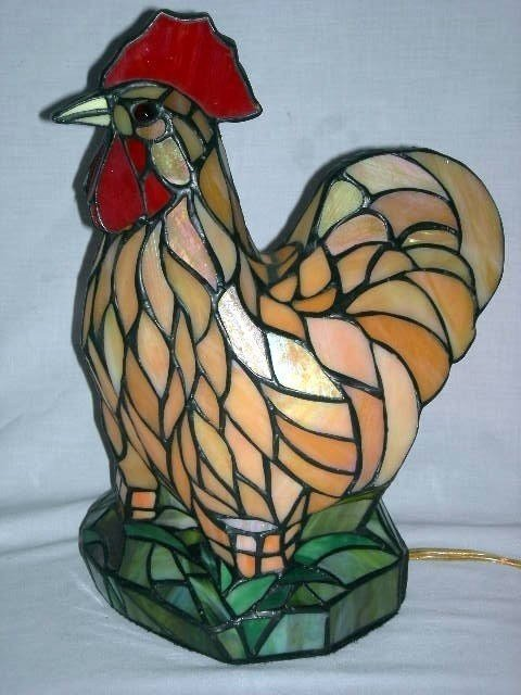 Stained Glass Rooster Lamp 11