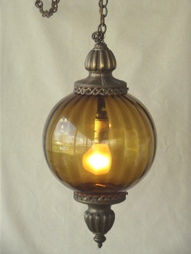 Vintage 70s large Ceramic Sconce lamp light hanging Ceiling Fixtures iron brass
