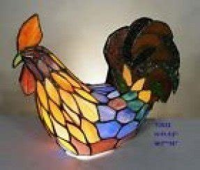 Tiffany leadlight stained glass rooster nursing hen accent table lamp