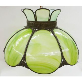 Tiffany style green kokomo glass hanging swag lamp light fixture