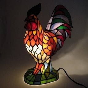 Tiffany style rooster stained glass accent lamp 16 inch lights
