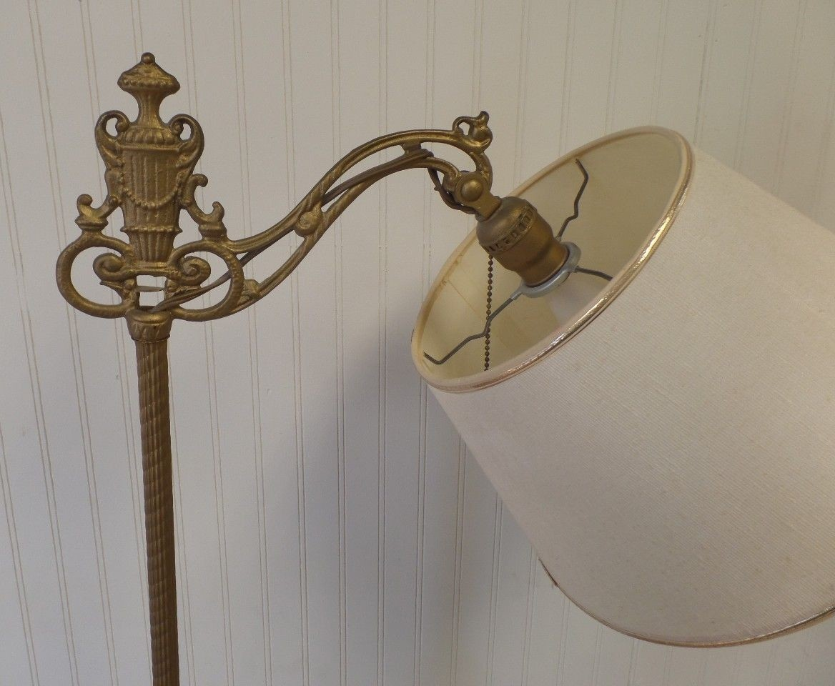 Vintage art deco nouveau cast iron bridge arm floor lamp