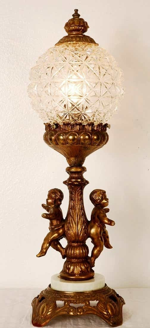 Mythical Cherub Lamp with Raised Flowers and Designs