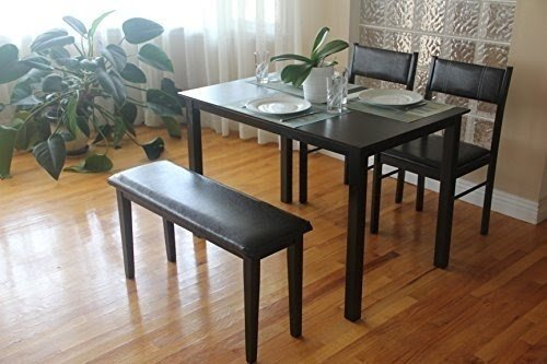 4 Pc Dining Dinette Kitchen Set Rectangular Table 2 Chairs Bench In  Espresso Black Finish