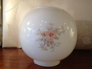 About glass pink flower oil lamp globe shade replacement vintage