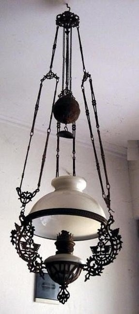 Antique iron and glass oil lamp chandelier