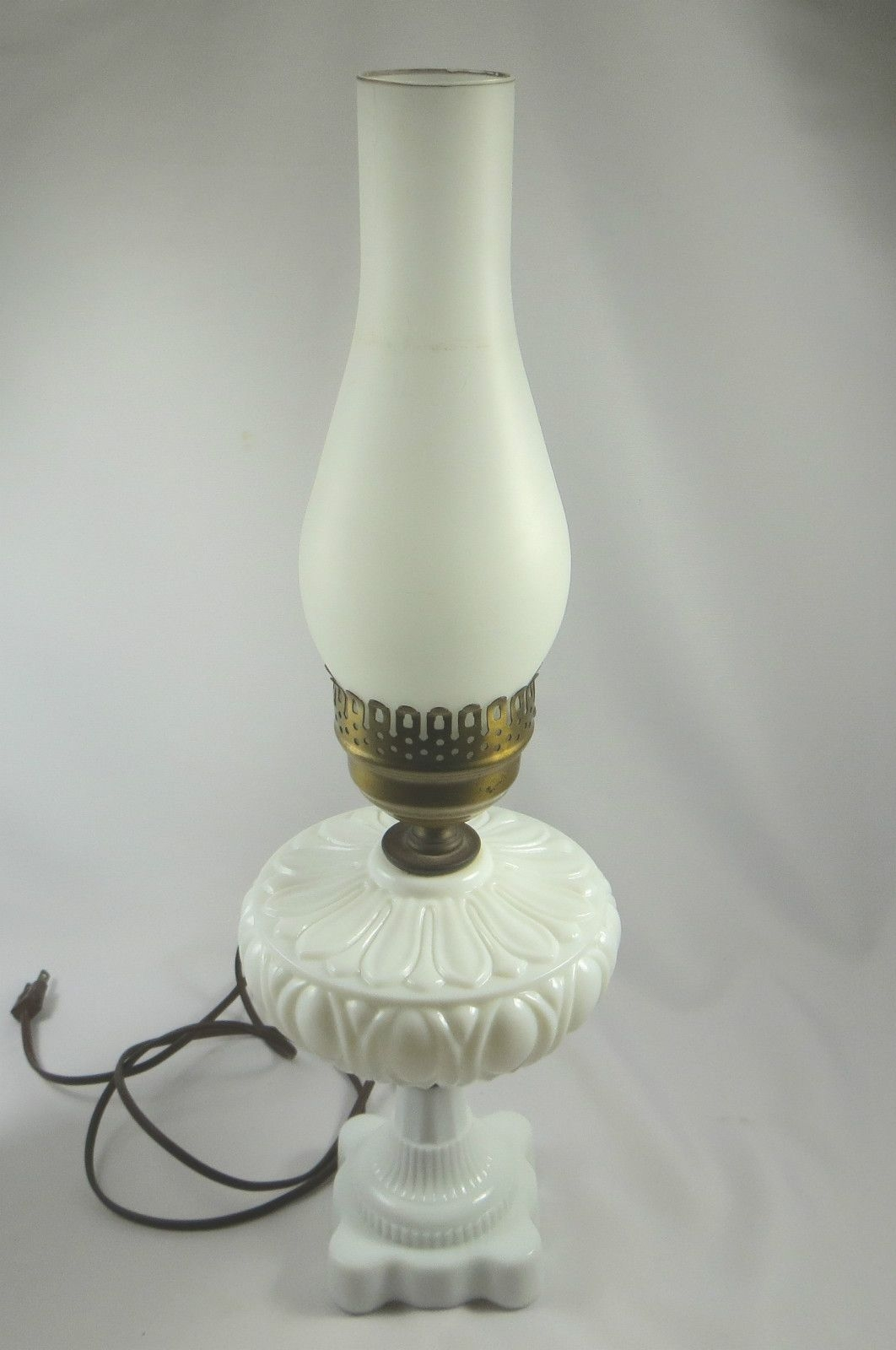 Antique Milk Glass Converted Electric Oil Lamp W Frosted Glass Chimney Vintage