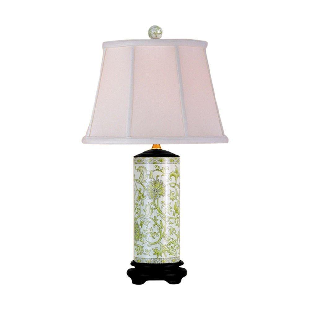 Attirant Asian Cream Celadon Porcelain Crackled Vase Table Lamp Modern Table