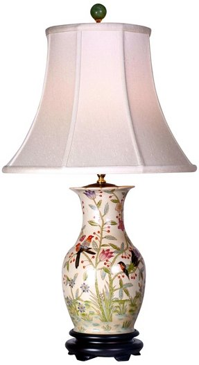 Asian flowers and birds porcelain vase table lamp asian table
