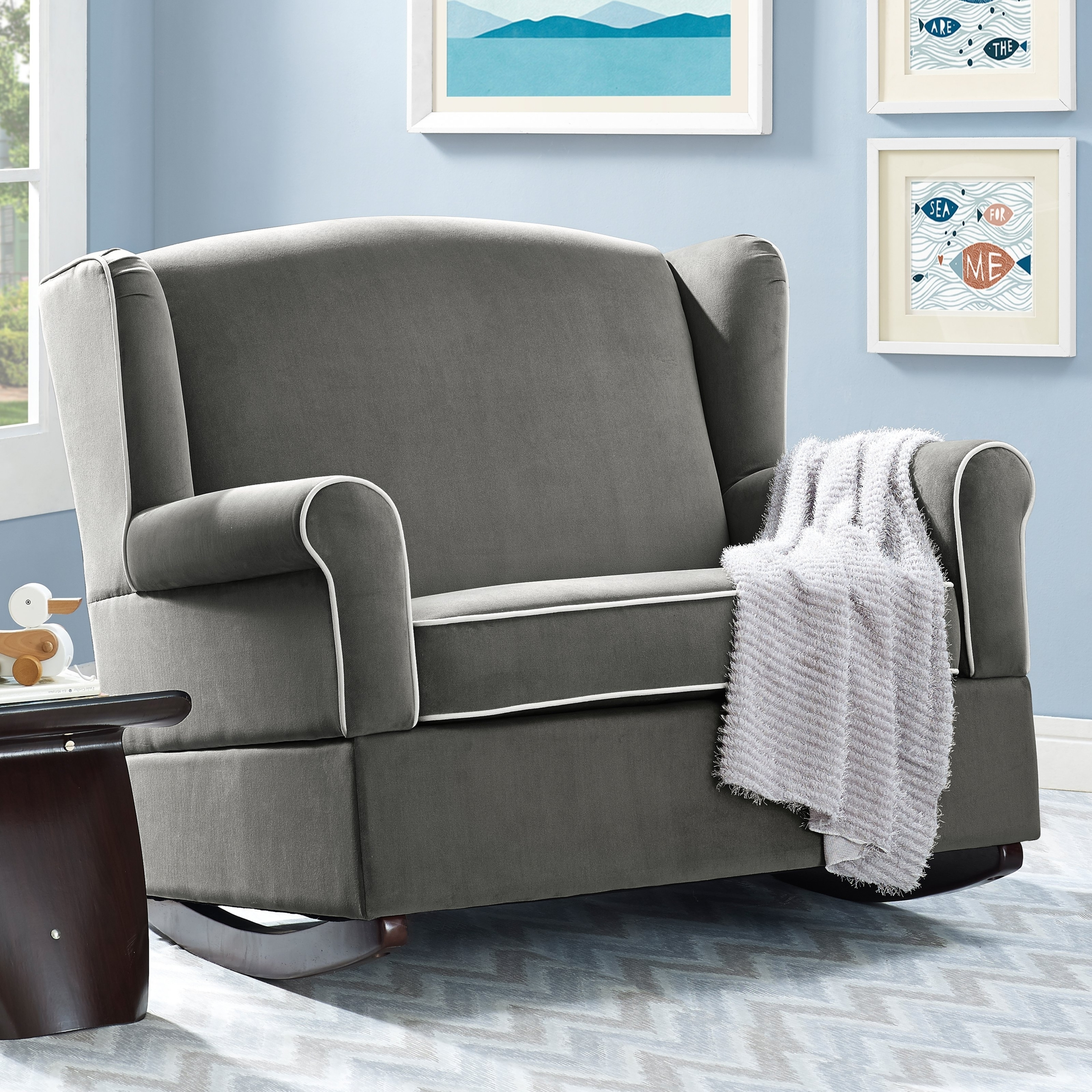Superb Baby Relax Lainey Wingback Chair And A Half Rocker