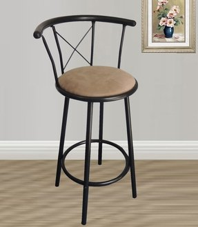 Black Finish 29 Seat Height Metal Swivel Counter Bar Stools Set