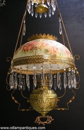 Brass Slip Font Hanging Oil Lamp Kerosene With Hand