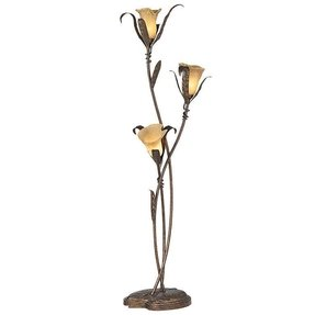 Bronze and gold finish three amber glass flower shades takes