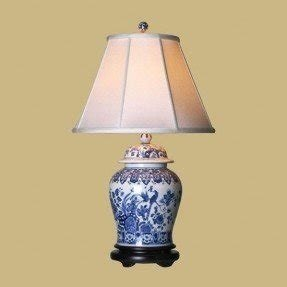 Chinese porcelain table lamps 30 blue white temple jar table