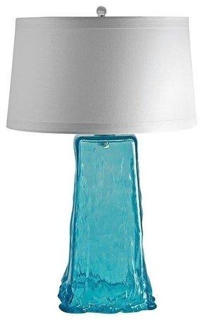 Sea glass table lamp foter coastal aqua wave recycled glass table lamp contemporary table lamps aloadofball Choice Image