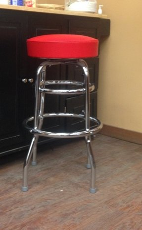 Commercial Grade Red Restaurant Swivel Bar Stool - Made in USA