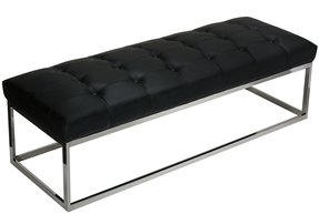 Cortesi Home Biago Contemporary Tufted Bench, Black Leather Like Vinyl