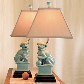 Foo dog lamp foter it has wooden base and kickstand made of green ceramic it is stylised on chinese guardian lion often named foo dogs lampshade is made of white canvas mozeypictures Image collections