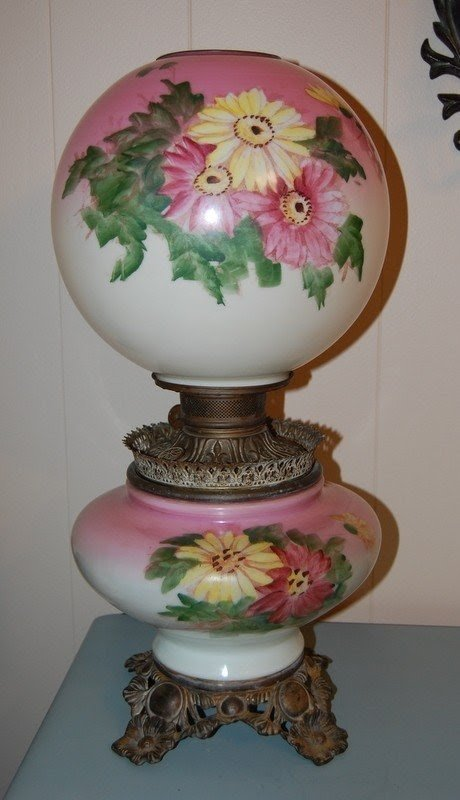 Hand Painted Antique Globe Lamp