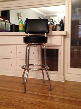 Heavy Duty Black 30 Inch Swivel Bar Stool with Back (0-1957BLK)