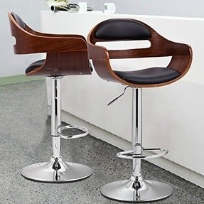 Joveco Swivel Adjustable Curved Seat Metal and Wood Barstool