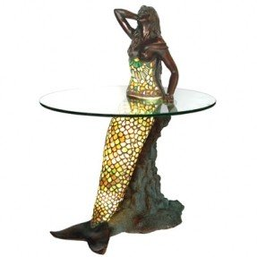 Superieur This Stunning Piece Merges Tiffany Lamp With Dramatic End Table. A  Beautiful, Long Haired Mermaid Leans Against A Sculptural Rock, And As The  Lamp Is ...