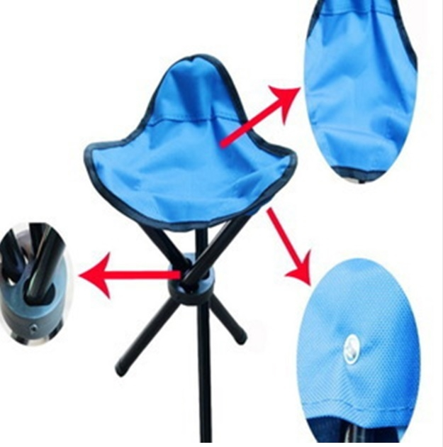 OUTDOOR HIKING FISHING PORTABLE POCKET FOLDING CHAIR WITH 3 LEGS STOOL   35699