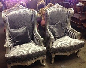 Pair of Solid Wood Hand Carved Arms Accent Chairs