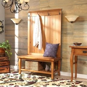 Simple Rustic Country Style Hall Tree. Accent Your Home with Natural Wood Entryway Furniture. This Bench Hall Tree Coat Rack Makes an Ideal Entryway Organizer