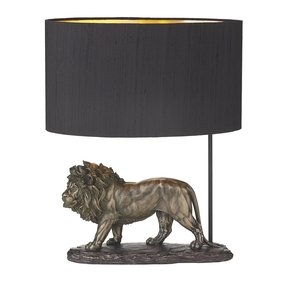The david hunt lighting collection royal bronze lion table lamp