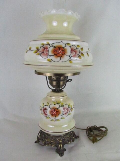 White Milk Glass Hurricane Table Lamp Shade Vintage Gwtw Style