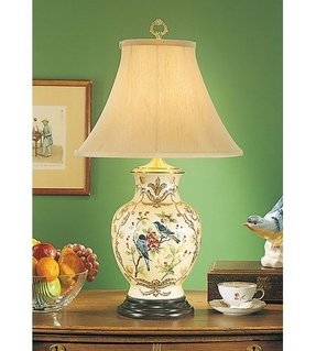 Wildwood lamps birds of blue table lamp in hand painted