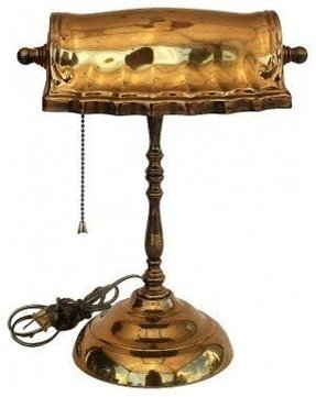 Antique brass bankers lamp 2