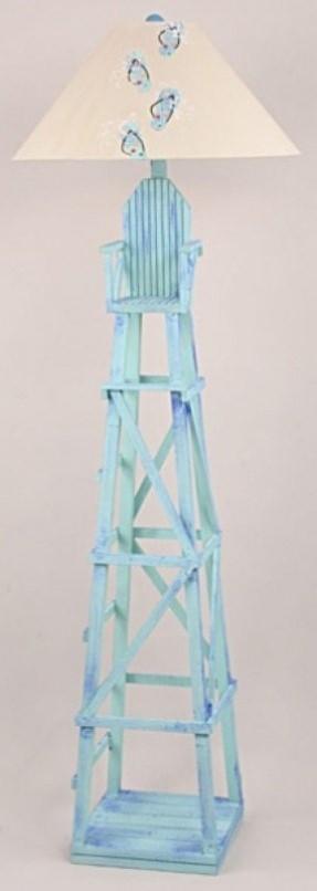 Blue Coastal Lifeguard Chair Floor Lamp From Newport Nautical Decor