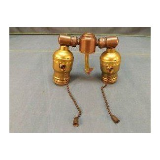 Brass leviton double cluster lamp socket with pull chain sockets