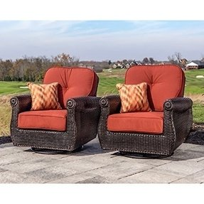 Breckenridge 4 Piece Patio Furniture Set Two Swivel Rockers Sofa And Coffee Table