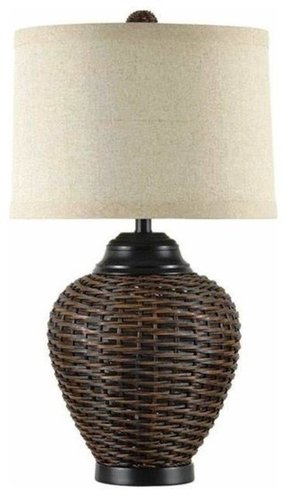 Dark rattan table lamp table lamps other metro